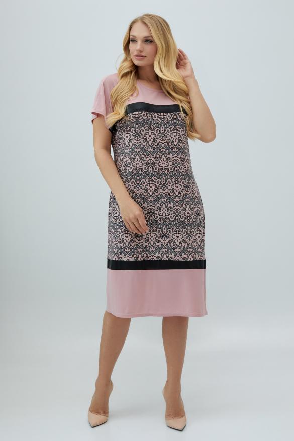 Платье Эльза розово-серое