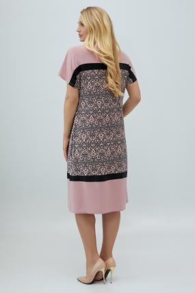 Платье Эльза розово-серое 2855