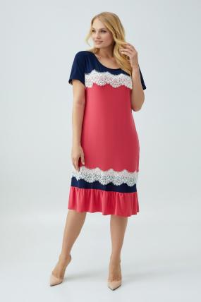 Сукня Аїда коралова з синім 2857