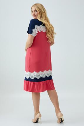 Сукня Аїда коралова з синім 2858