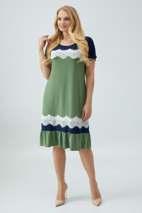Сукня Аїда оливкова з синім