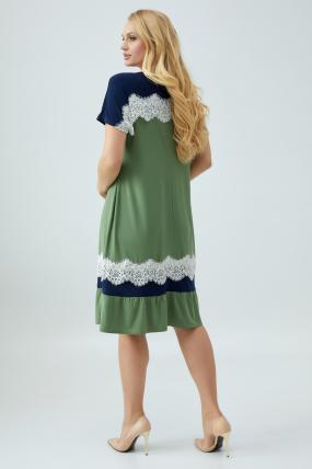 Платье Аида оливковое с синим 2862