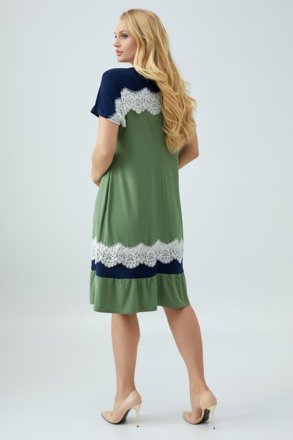 Платье Аида оливковое с синим