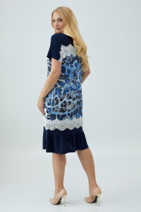 Платье Аида голубое с синим 2864