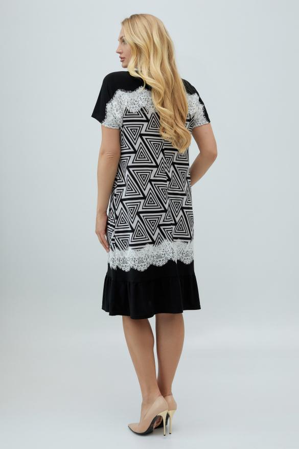 Платье Аида черно-белое