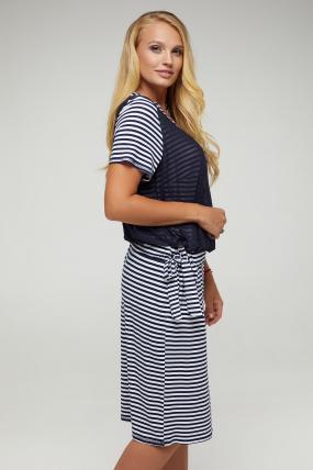 Платье Одесса синее в полоску 2882