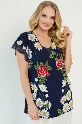 Блуза Брітель темно-синя 3405