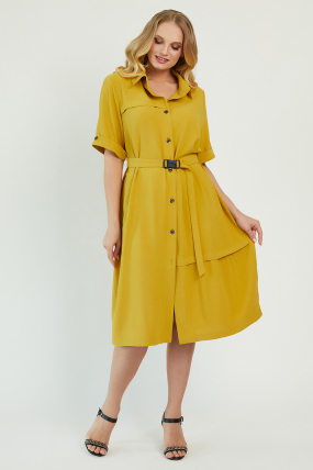Платье Бизе горчица 3434