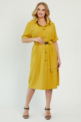Платье Бизе горчица 3435