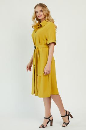 Платье Бизе горчица 3436