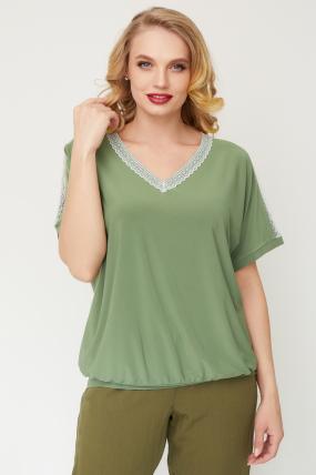 Блуза Гипюр оливковая  3506