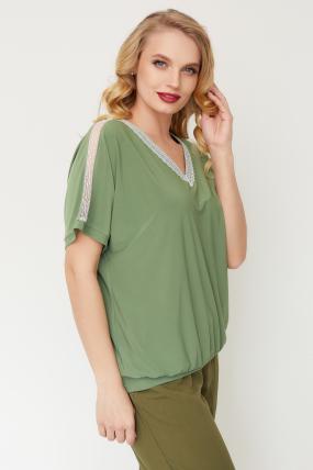 Блуза Гипюр оливковая  3508