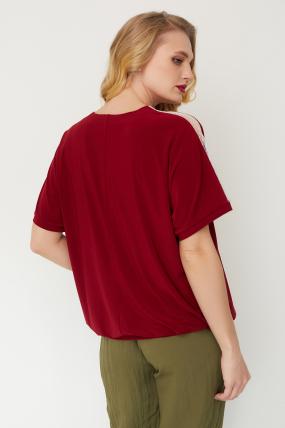 Блуза Гипюр бордовая 3509