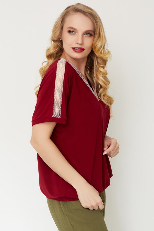 Блуза Гипюр бордовая