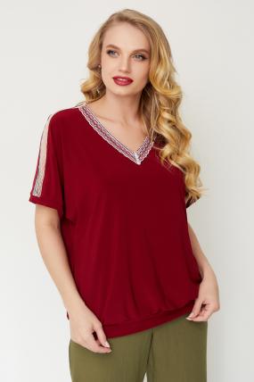 Блуза Гипюр бордовая 3511