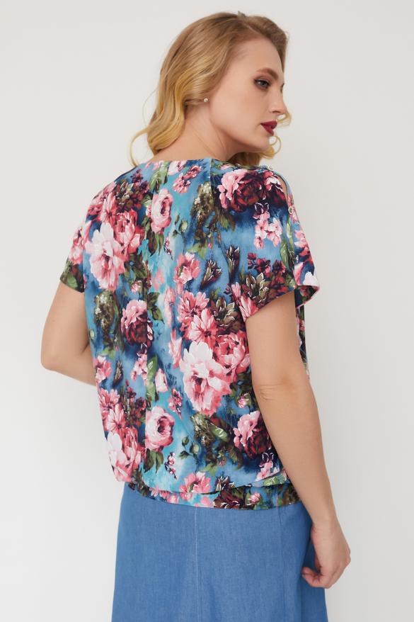 Блуза Жемчуг серо-голубая