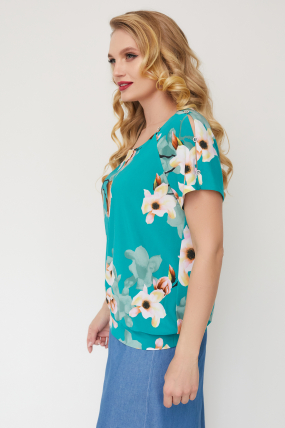 Блуза Жемчуг бірюзова 3554