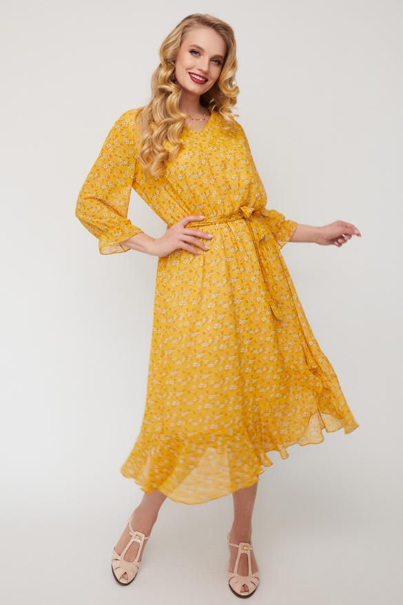 Платье Беатрис горчица