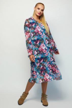 Платье Кармен серо-голубое