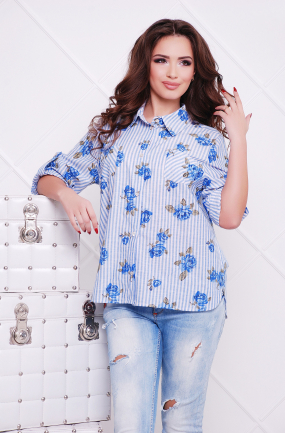 Сорочка блакитний джинс Розочка 41
