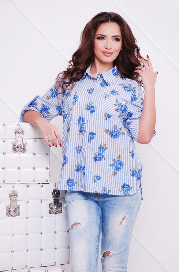 Рубашка голубой джинс Розочка