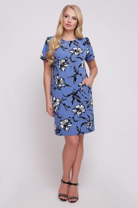 Сукня Айза принт (синій)